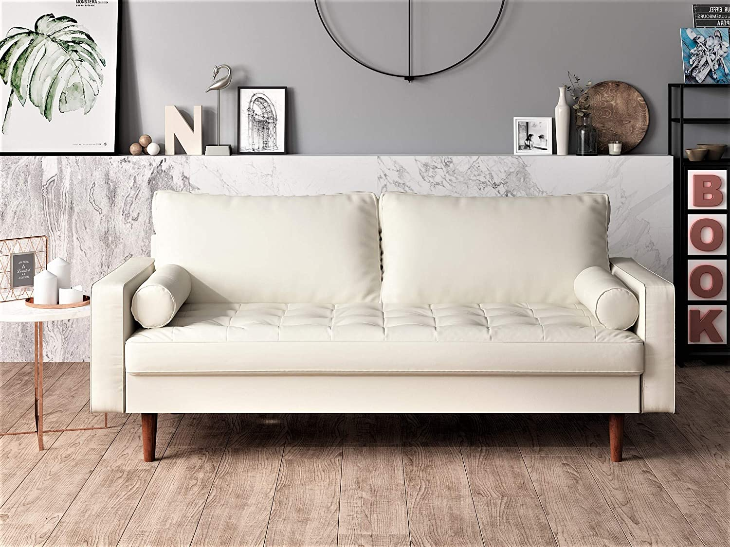 Magnificent Container Furniture Direct Orion Mid Century Modern Pu Leather Upholstered Living Room Loveseat With Bolster Pillows 50 39 White Machost Co Dining Chair Design Ideas Machostcouk