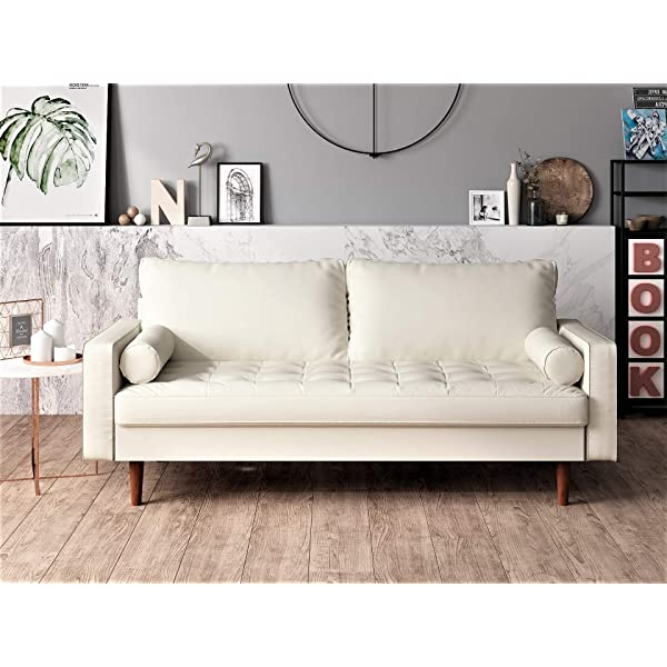 Container Furniture Direct S5454-L Orion Mid Century Modern PU Leather Upholstered Living Room Loveseat with Bolster Pillows, 50.39