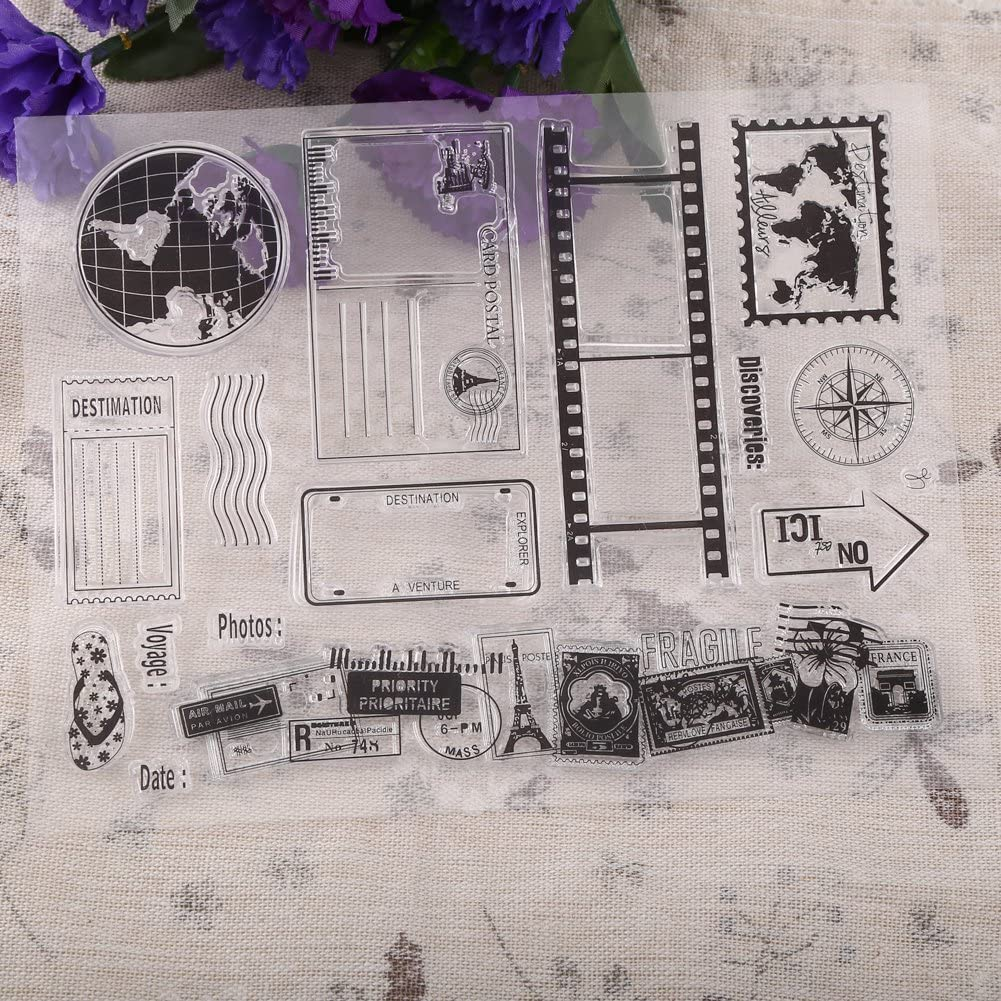 14x18cm Transparent Scrapbook Photo Cards Clear Seal Silicone Earth Map Postcards Stamps For DIY Scrapbook Photo Cards