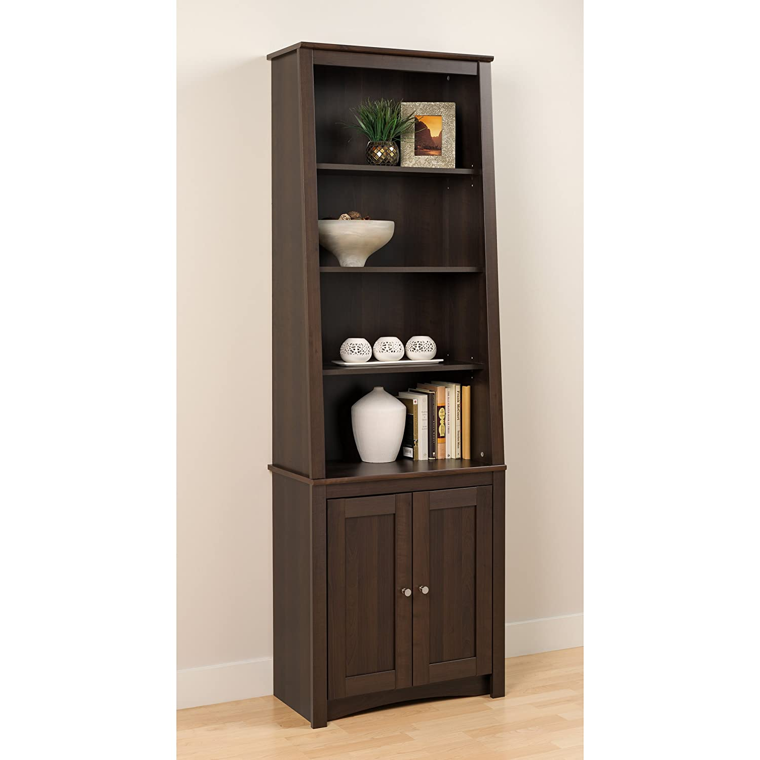 Amazon Espresso Tall Slant Back Bookcase with 2 Shaker Doors