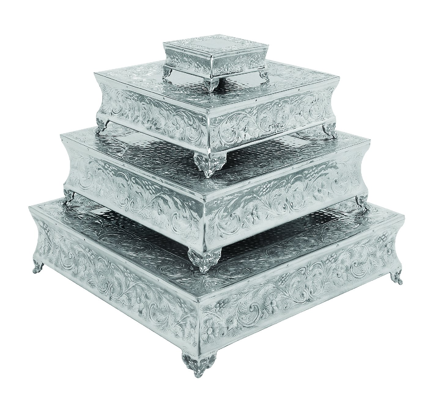 Amazon.com: Deco 79 Aluminium Square Cake Stand Home Decor, 22 By 18 By 14  By 6 Inch, Set Of 4: Home U0026 Kitchen