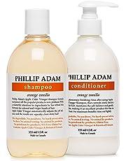 Phillip Adam Orange Vanilla Shampoo and Conditioner Set for Shiny Hair – Apple Cider Vinegar Formula - Restore Smoothness and Shine - 12 Ounce Each
