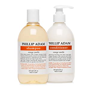 Phillip Adam Orange Vanilla Shampoo and Conditioner Set for All Types of Hair – Apple Cider Vinegar Formula - Enhance Shine and Restore Smoothness - 12 Ounce Each