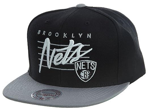 d3978b97c34028 Mitchell And Ness Men's NBA Brooklyn Nets Cursive Script Logo Snapback Cap