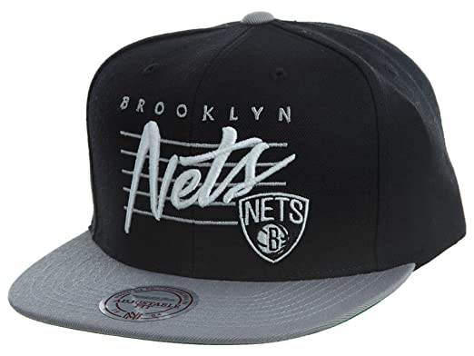 26c096e6a Amazon.com: Mitchell And Ness Men's NBA Brooklyn Nets Cursive Script ...