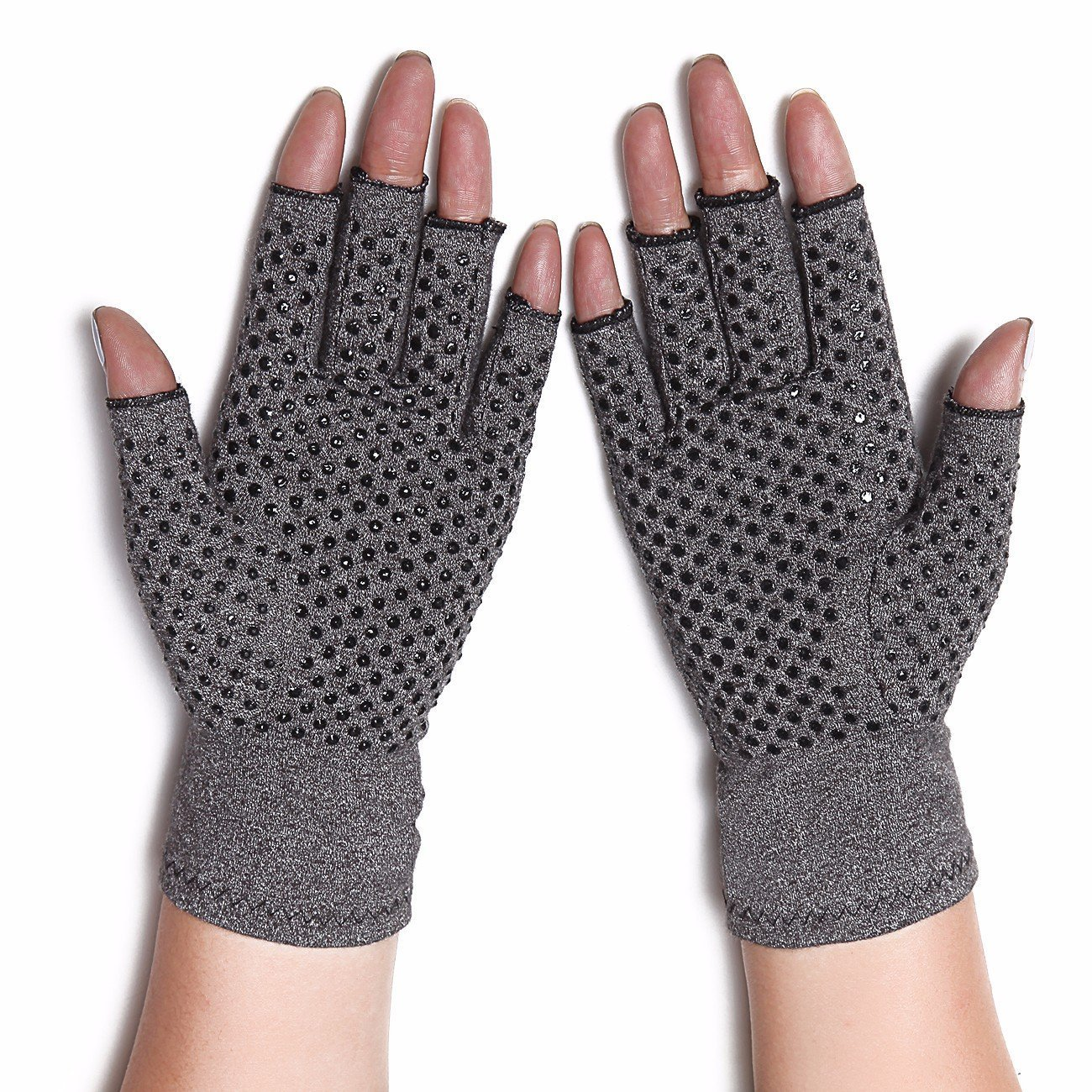 MicroHealthOne Compression Circulation Fingerless Warming Arthritis Gloves with Grips, Gray