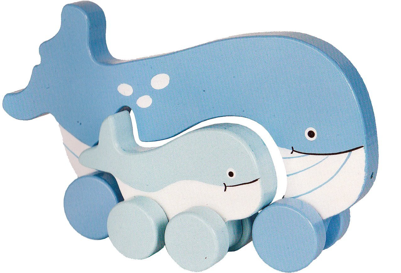 Jack Rabbit Creations Wooden Push Mommy Baby Whale Toy