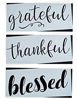 Grateful Thankful Blessed Stencil Set