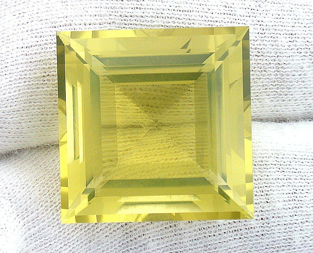 38.59 Carat 21.5mm Square Brazilian Citrine Gem Stone Gemstone Faceted Natural B9A23