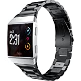 EloBeth Compatible Fitbit Ionic Stainless Steel Strap, Stainless Steel Replacement Band for Fitbit Ionic Watch (Black)