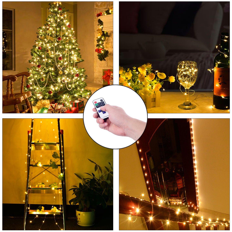 Guaiboshi Guirnalda de Luces LED 10m Flexible Alambre de Cobre Luz IP65 Impermeable Conexión USB para Iluminación DIY, Navidad y Decoración Fiesta -Blanco Cálido