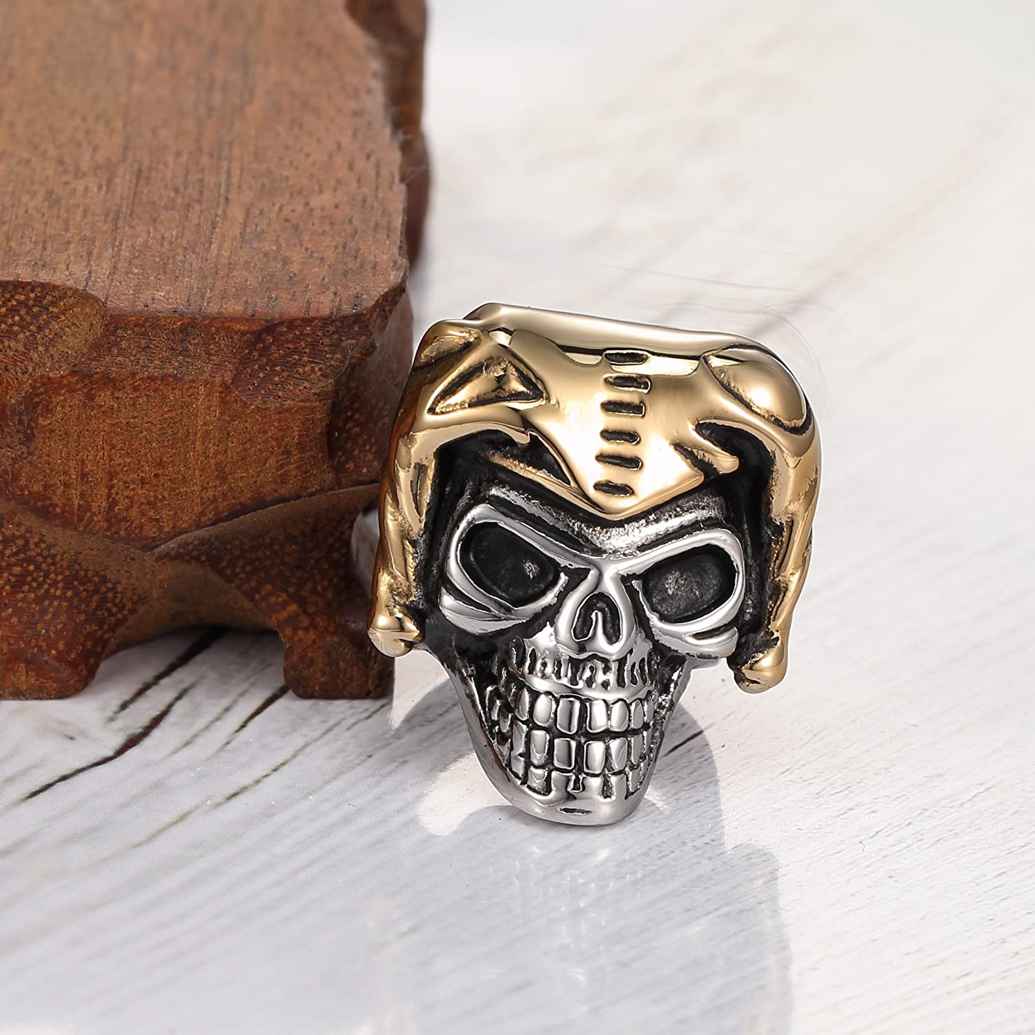 Silver Black Gold 14k Gold Plated Vintage 316l Stainless Steel Personality Alien Skull Biker Mens Ring