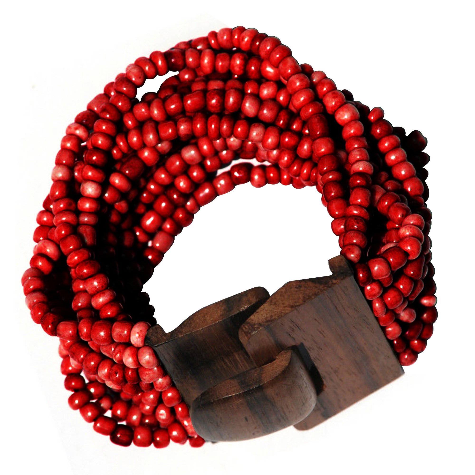 """Maroon 14 Strand Elastic Stretchy Glass Beaded Bracelet With Wooden Buckle Clasp – 2"""" Wide"""