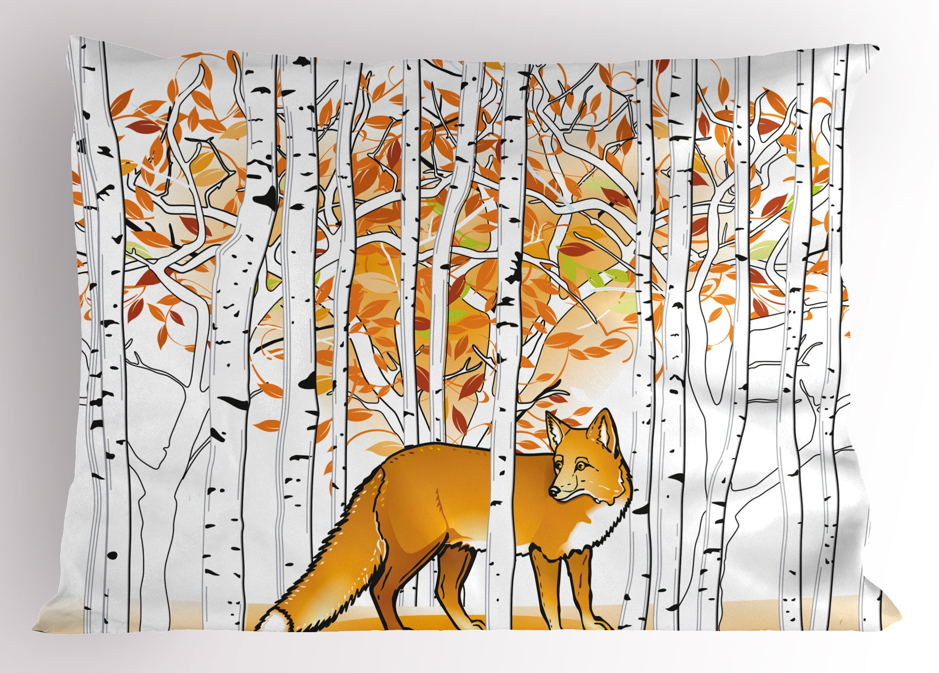 Ambesonne Hunting Decor Pillow Sham, Fox Hunting in Autumn Forest Birch Trees Rustic Wilderness Animal, Decorative Standard Queen Size Printed Pillowcase, 30 X 20 inches, Orange White Black by Ambesonne