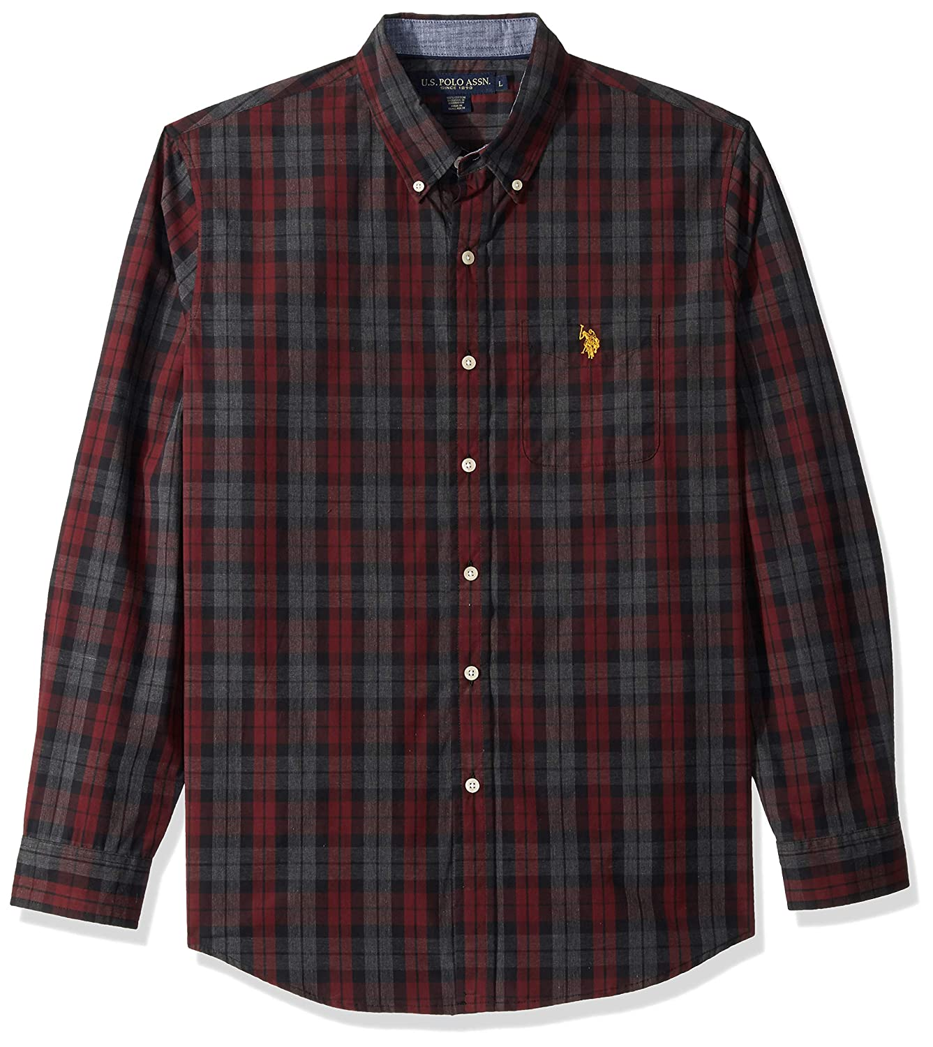 Mens Classic Fit Long Sleeve Plaid Sport Shirt Polo Assn U.S