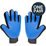 Delxo Pet Hair Removal Gloves with Skin-friendly Silicone Tips Pet Massage/Bathing Gloves for Long & Short Fur Protect Your Skin From Scratches or Biting Pet Get More Petting and Attention,1 Pair