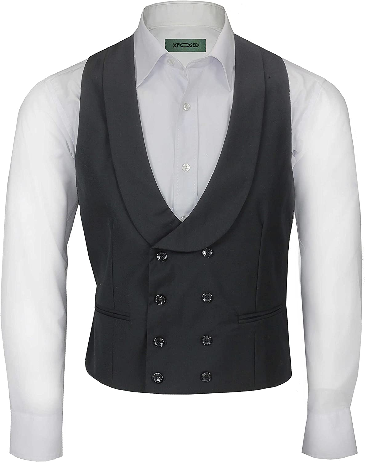 1920s Men's Fashion UK | Peaky Blinders Clothing Xposed Men's Vintage Double Breasted Shawl Lapel Waistcoat Tailored Fit Smart Wedding Dress Tux Vest £31.99 AT vintagedancer.com