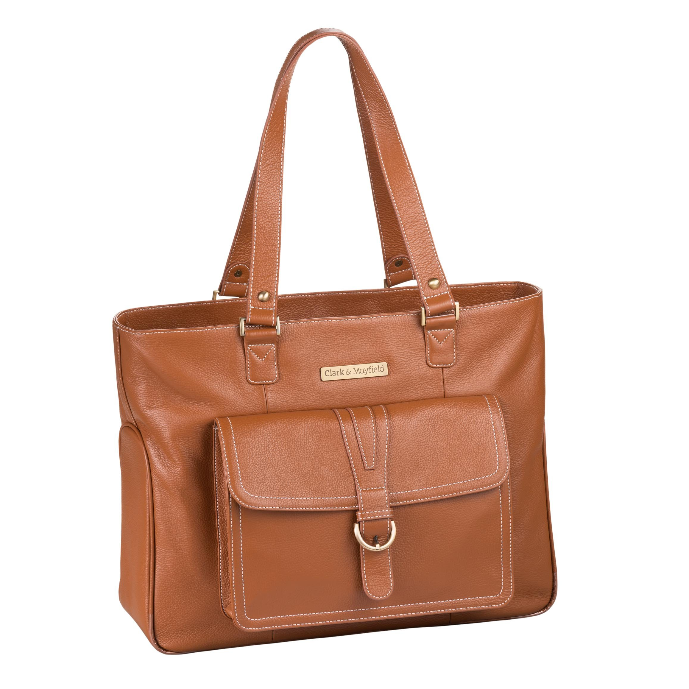 Clark & Mayfield Stafford Pro Leather Laptop Tote 17.3'' (Camel)