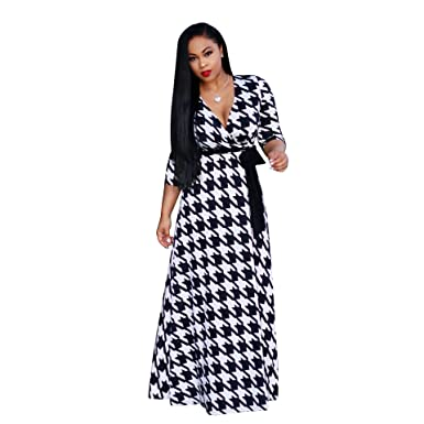 f704cfb2882 Women s V-Neck Printed Loose Party Dress Vintage Wrap Long Maxi Dress with  Belt at Amazon Women s Clothing store