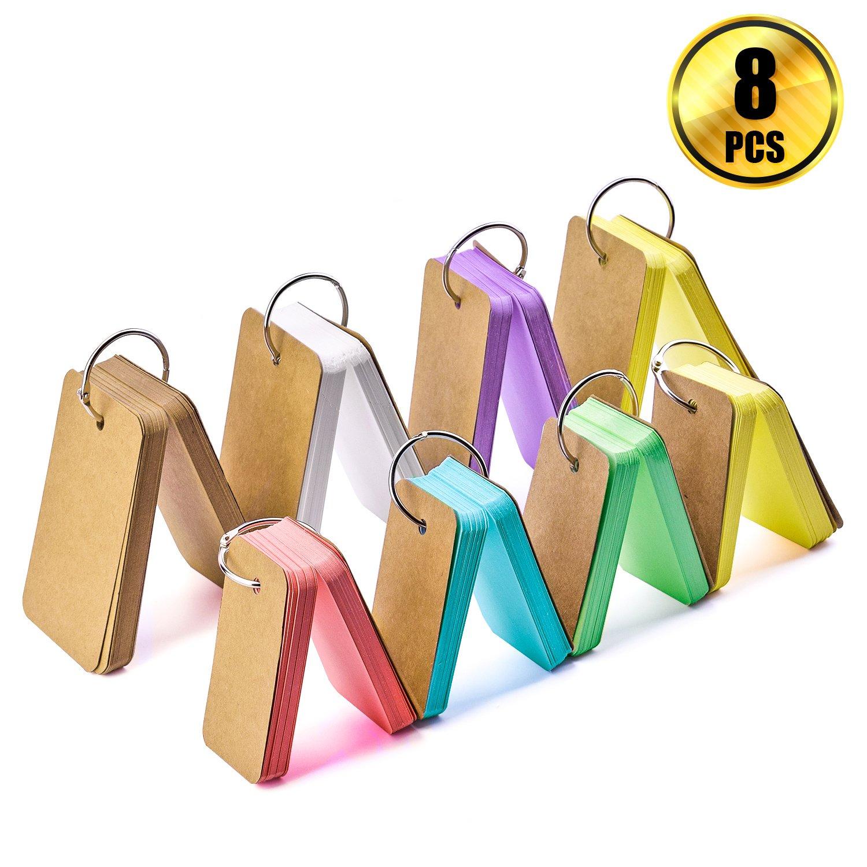 WXJ13 Multicolor Study Cartes Mémorandum Note Coussinets, mémoire, cartes de Word avec anneau à anneaux en métal, 8 Ensembles totalement 400 pièces