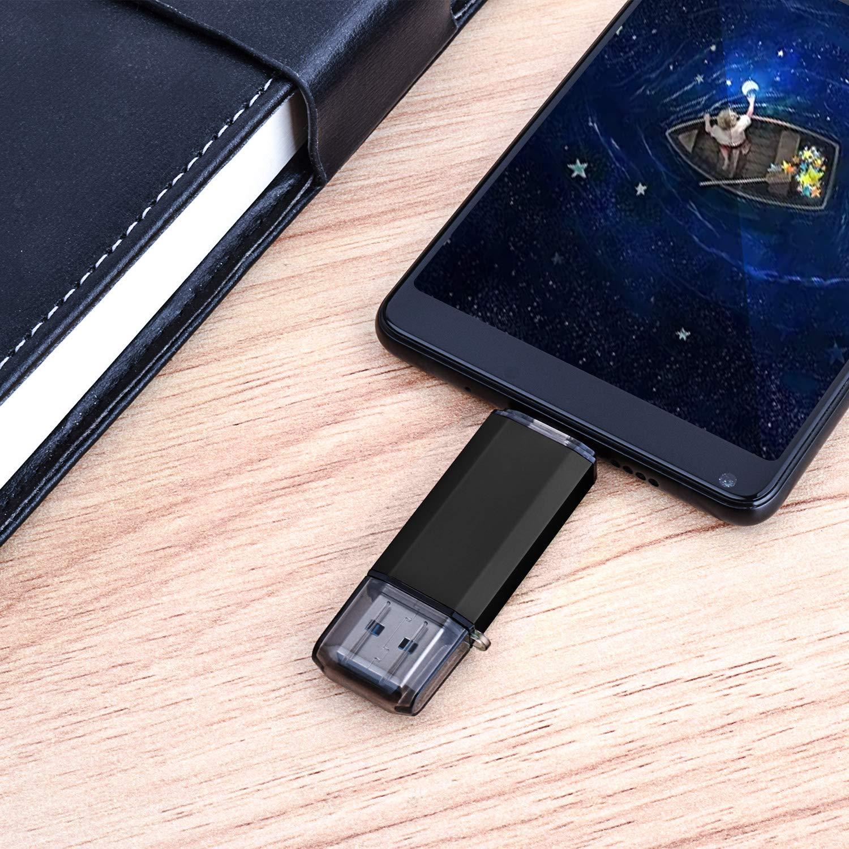 JUANWE 2 Pack 32GB USB Flash Drive USB 2.0 Thumb Drives Jump Drive Fold Storage Memory Stick Swivel Design Black