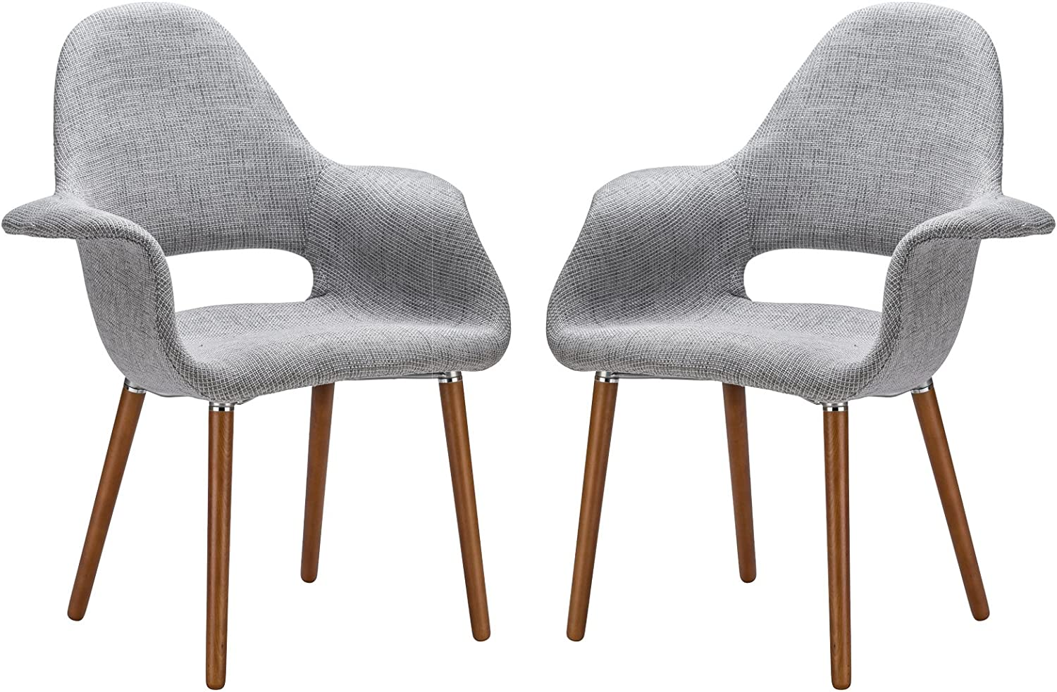 Poly and Bark Barclay Upholstered Fabric Modern Dining Arm Chair with Wooden Legs, Light Grey Set of 2