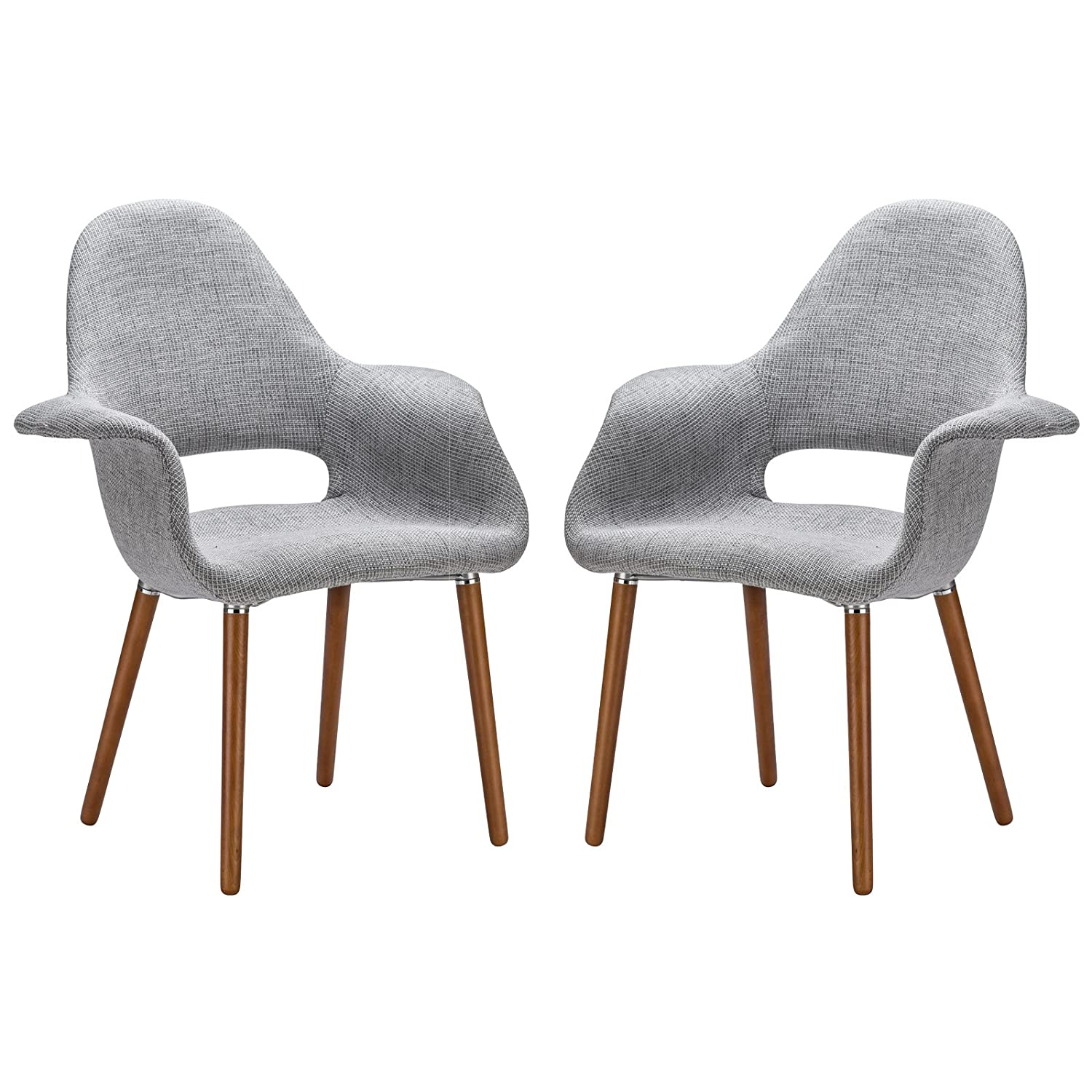 Amazon Poly and Bark Organic Arm Chair Light Grey Set of 2