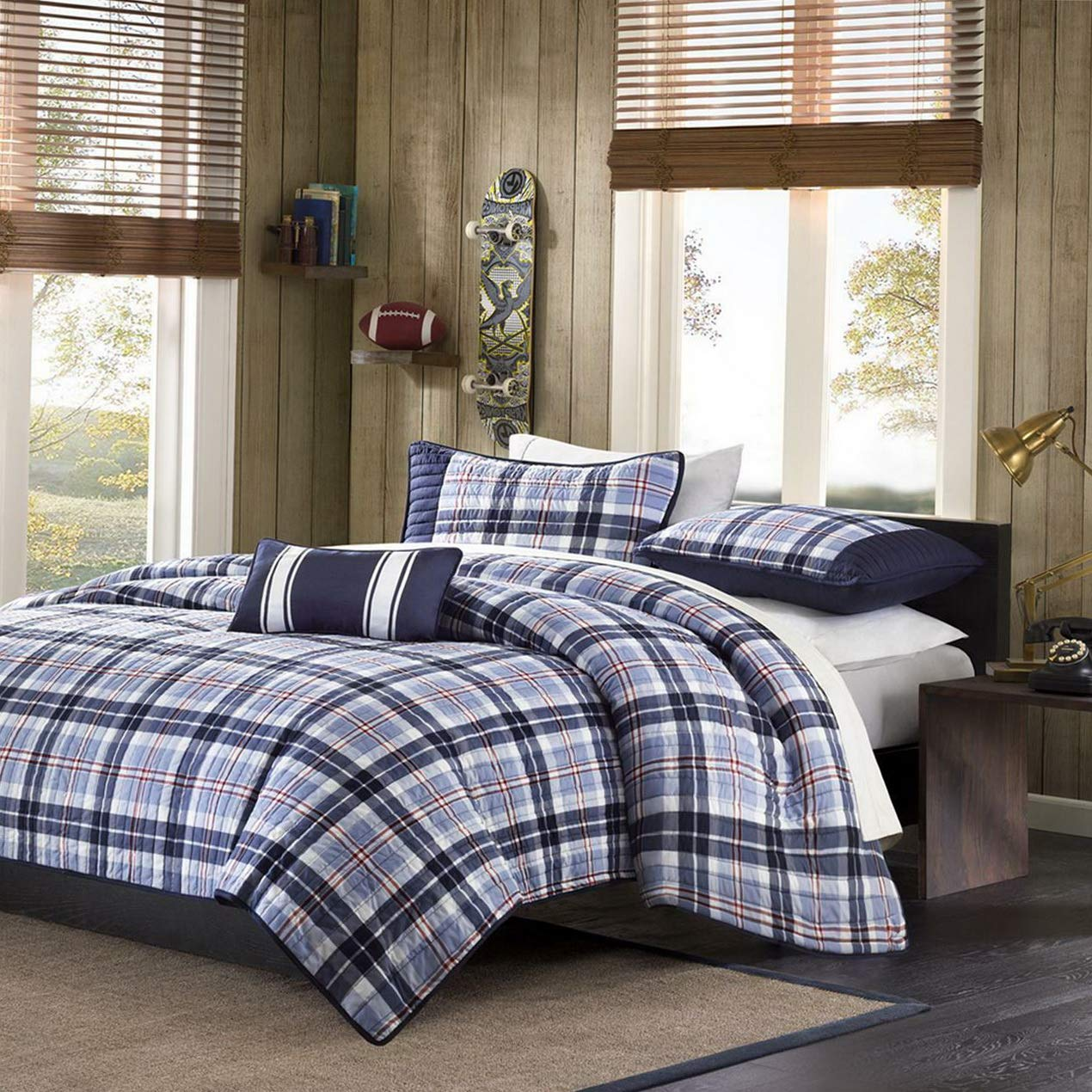 Kaputar Modern Blue RED Navy Sporty Boys Plaid Stripe Textured Quilt Set W/Pillow | Model CMFRTRSTS - 4119 | Twin by Kaputar (Image #1)