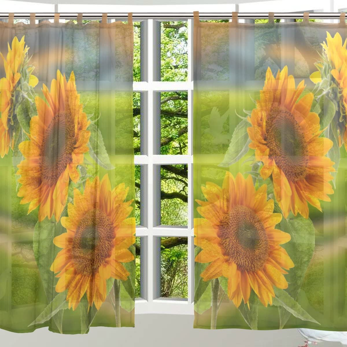 ALAZA 2 PCS Window Decoration Sheer Curtain Panels,Cute Sunflower Floral,Polyester Window Gauze Curtains Living Room Bedroom Kid s Office Window Tie Top Curtain 55×78 inch Two Panels Set Design 50