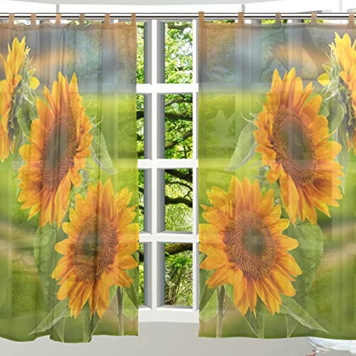 ALAZA 2 PCS Window Decoration Sheer Curtain Panels,Cute Sunflower Floral,Polyester Window Gauze Curtains Living Room Bedroom Kid's Office Window Tie Top Curtain 55×78 inch Two Panels Set Design 50