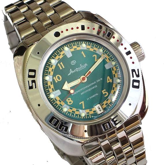 Vostok 710439 de anfibios/2416b ruso Militar reloj automático buzos 200 M de buceo verde: Vostok: Amazon.es: Relojes
