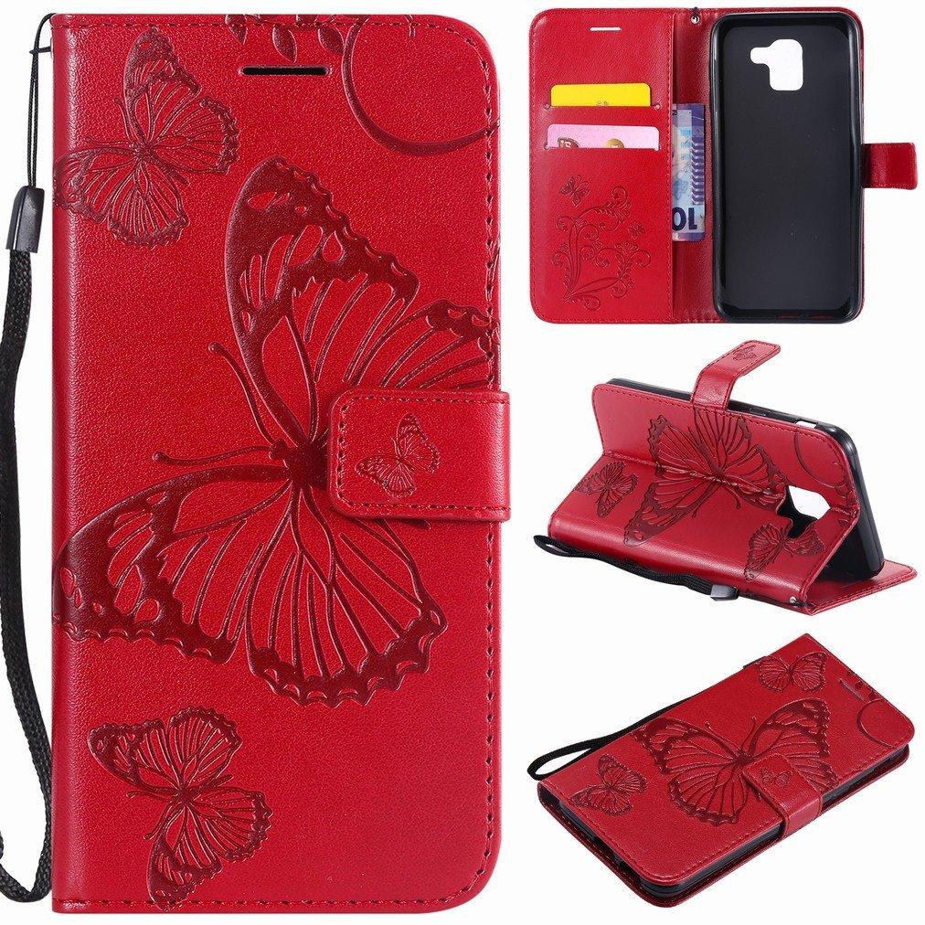 Laybomo Samsung Galaxy J6 J600F/DS Etui Housse PU Cuir Pochette Portefeuille Aimant Protecteur Slim Flip Cover Doux TPU Silicone Coque pour Galaxy J6 avec Slot pour Carte, 3D Papillons (Rouge) lbm-cs5730
