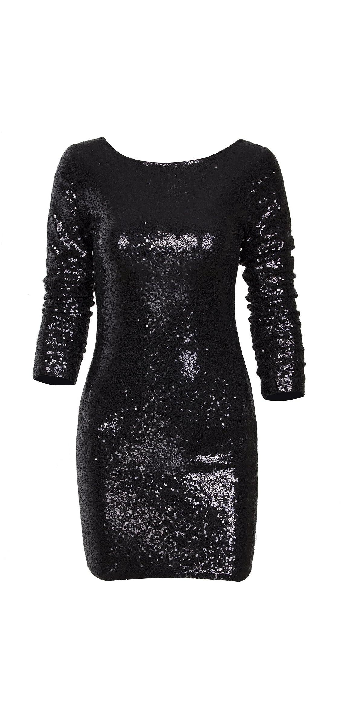 Women's Sparkle Glitzy Glam Sequin Long Sleeve Flapper