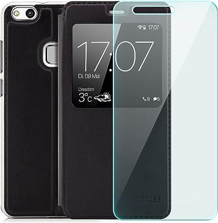 zanasta] Combo 1 Verre trempé 1 Coque Huawei P10 Lite (WAS-LX1A) Etui Housse Protection Ultra Mince Case Flip View Cover avec Fenêtre et Protection ...