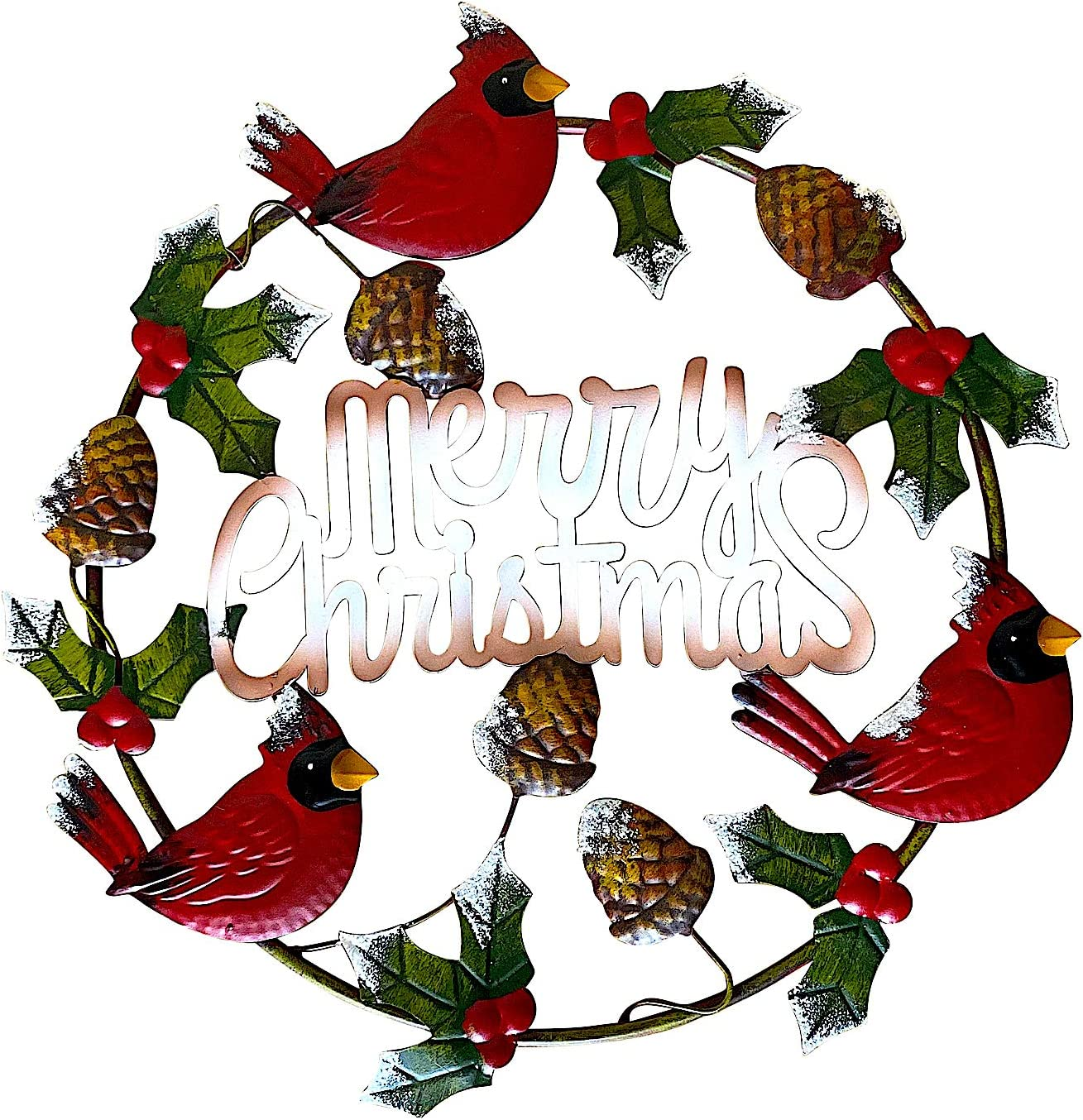 DI. Inc Merry Christmas Cardinal Wreath Ornament Metal Rustic Wall Front Door Decor Indoor Outdoor 17