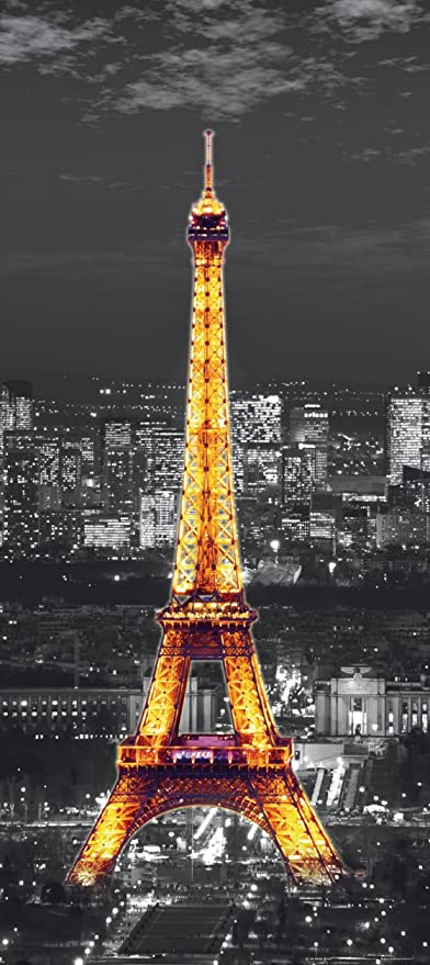 Glowing Yellow Eiffel Tower On Black And White Paris At Night Wall Mural Non Woven Photo Wallpaper