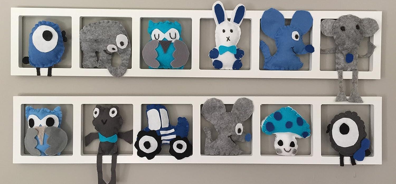 Chambre bébé garçon bleue - cadre mural decoratif- figurines bleues et grises - fait mains - cadeau de naissance personnalise