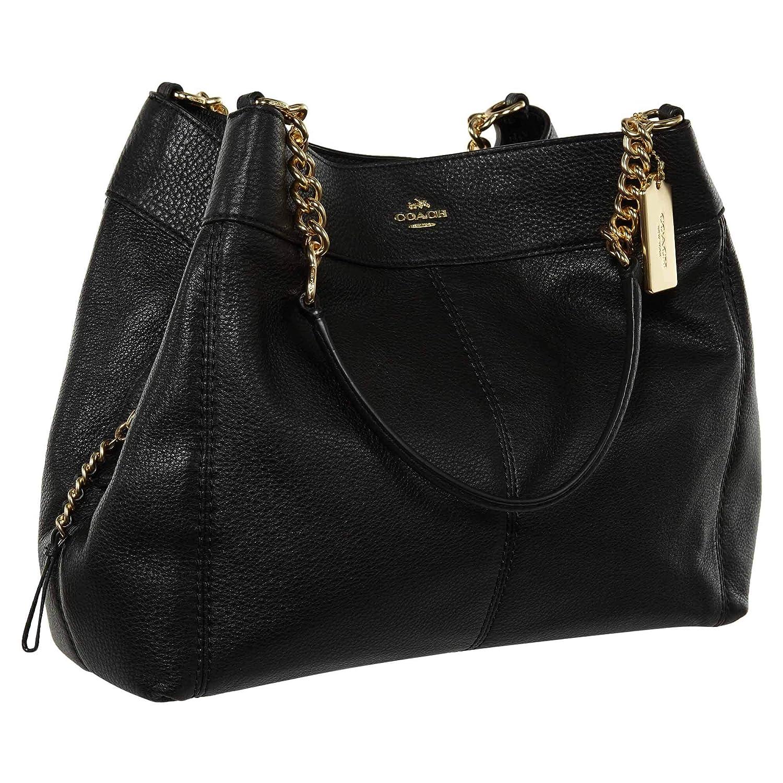 b396118ea13 COACH Pebble Leather Lexy Chain Shoulder Bag Black - Light Gold (F27594)   Handbags  Amazon.com