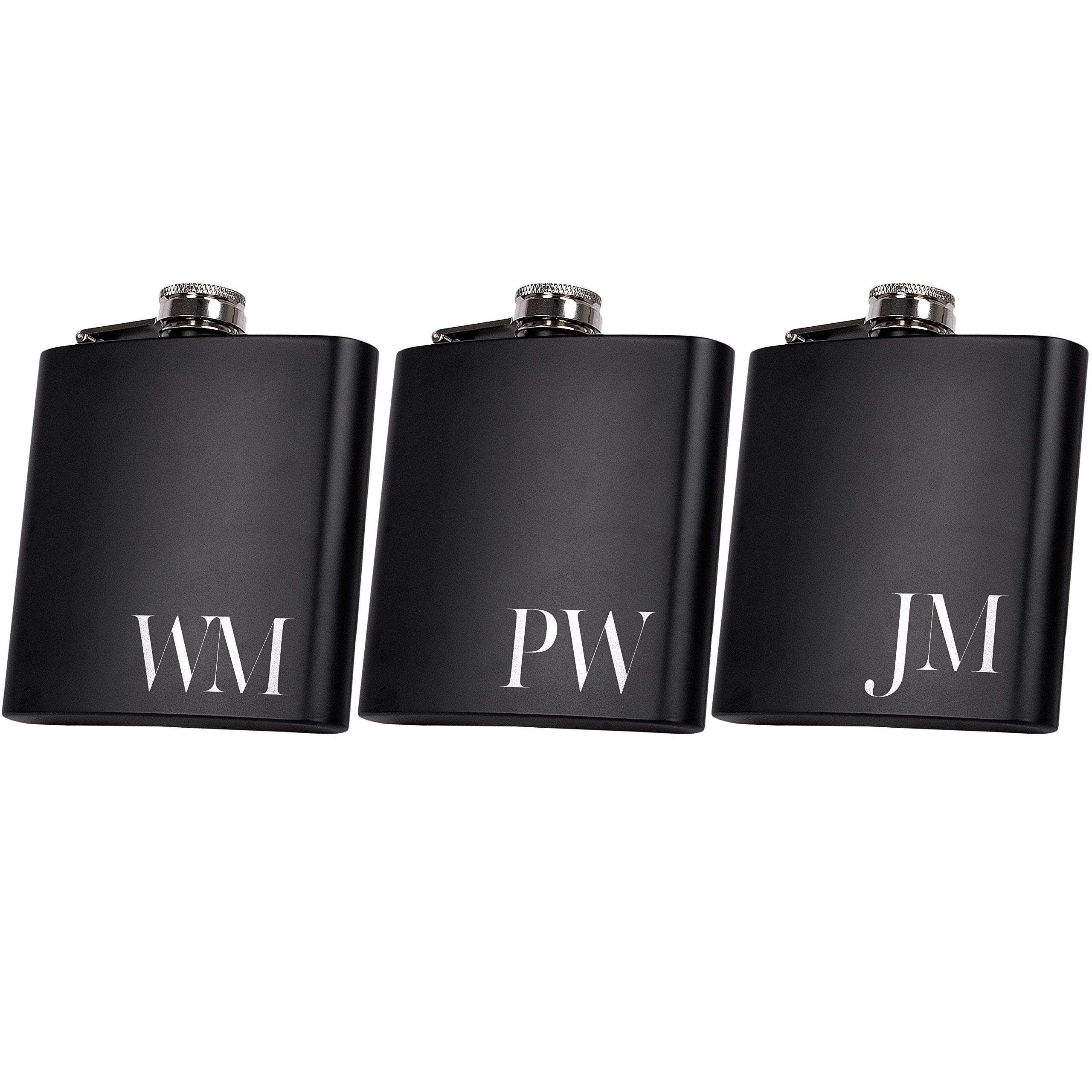 Set of 6, Set of 3, Single - Personalized Flask, Groomsmen Gift, Customized Groomsman Flasks, Wedding Favors, Matte Black, Design 2 (3) by United Craft Supplies