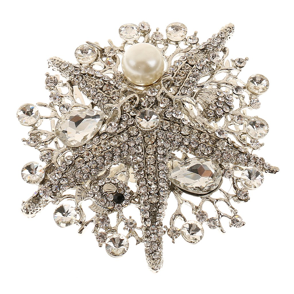 Vintage Crystal Starfish Pearl Hair Comb Clip Bride Lady Accessories Jewelry Generic STK0156011538
