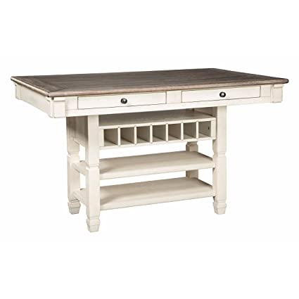 Ashley Furniture Signature Design   Bolanburg Counter Height Dining Room  Table   Antique White