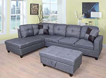 Incredible Beverly Fine Furniture Right Facing Linen Russes Sectional Sofa Set With Ottoman Grey Squirreltailoven Fun Painted Chair Ideas Images Squirreltailovenorg