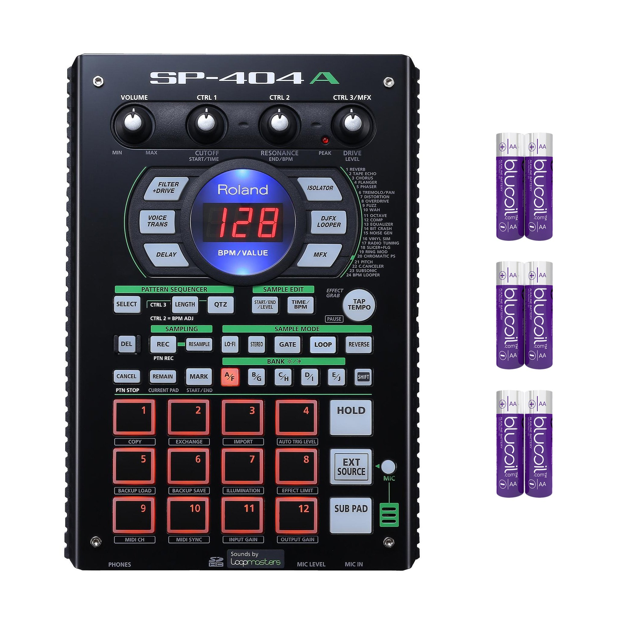 Roland SP-404A Drum Machine - Linear Wave Sampler with Pattern Sequencer, 12 Performance Pads, 29 Onboard DSP Effects, Built-in Microphone Bundle with 1GB SD Card and Six Blucoil AA Batteries
