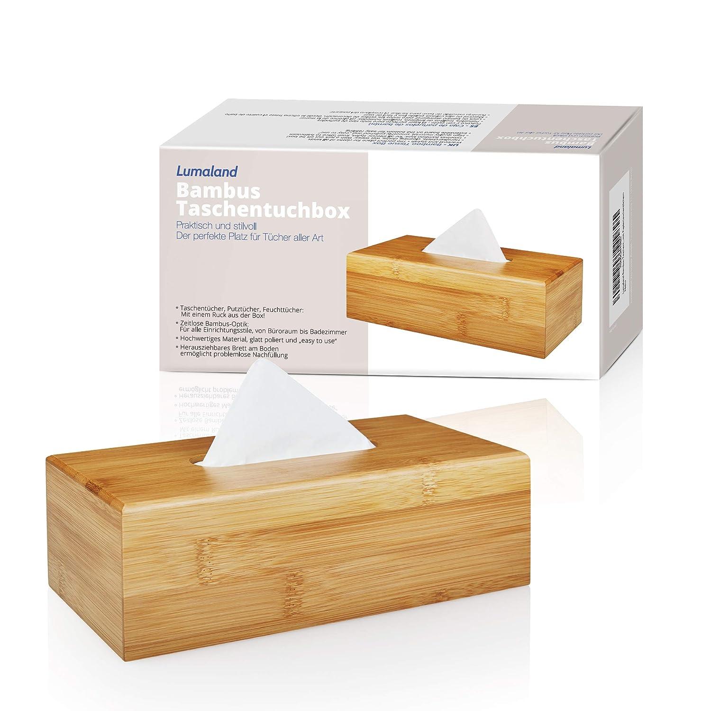 Lumaland Caja de pa/ñuelos de bamb/ú aprox 24 x 12 x 7,5 cm con base extra/íble para reponerlos