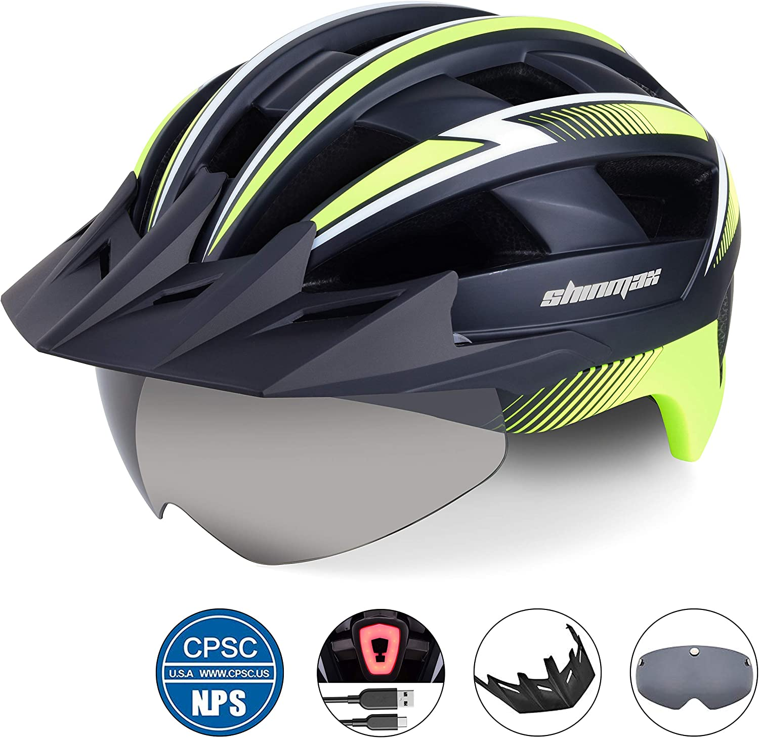 Shinmax Bike Helmet,Bicycle Helmet with USB Rechargeable LED Light CPSC Certified Adult Cycling Helmet//Adjustable Size Detachable Visor/&Removable Magnetic Goggles for Men Women Road Helmet SM-B23