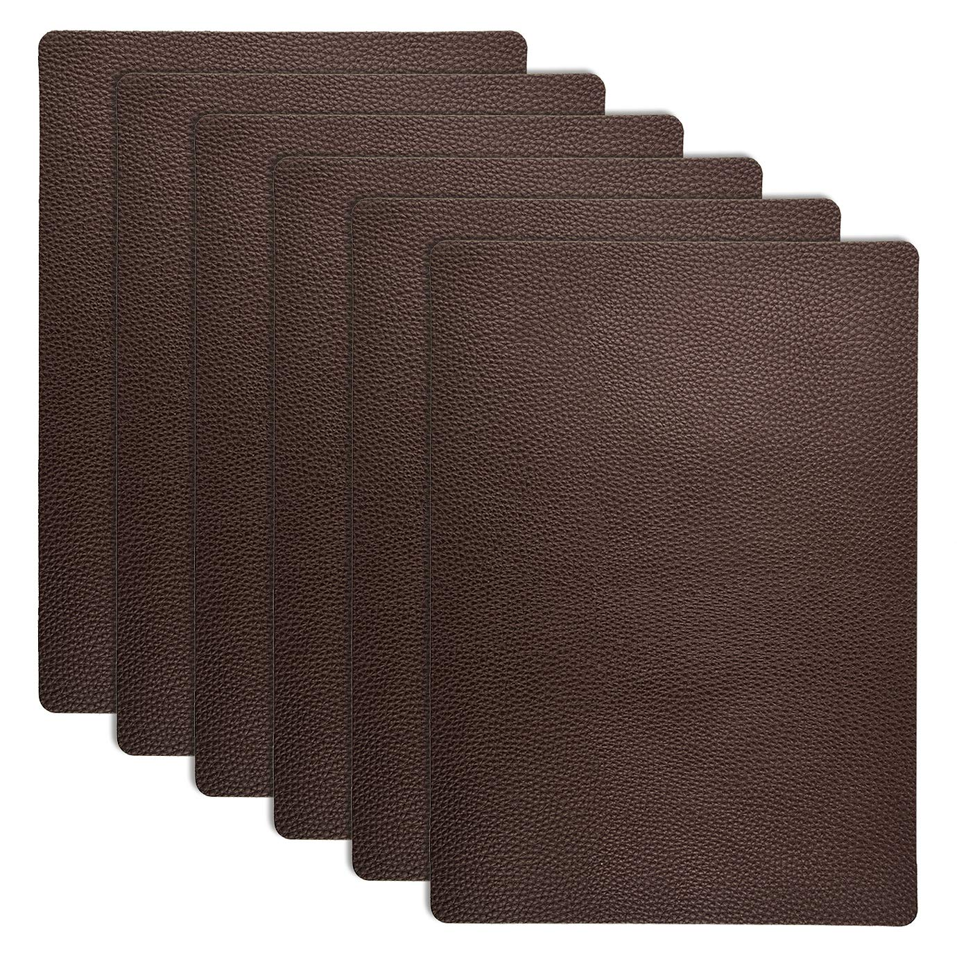 KONUNUS 6 Pieces 11 x 8 Inch PU Leather Repair Patch, Self-Adhesive Couch Patch Leather Repair Kit for Sofas, Furnitures, Car Seats, Couch, Hand Bags and Jackets, Brown