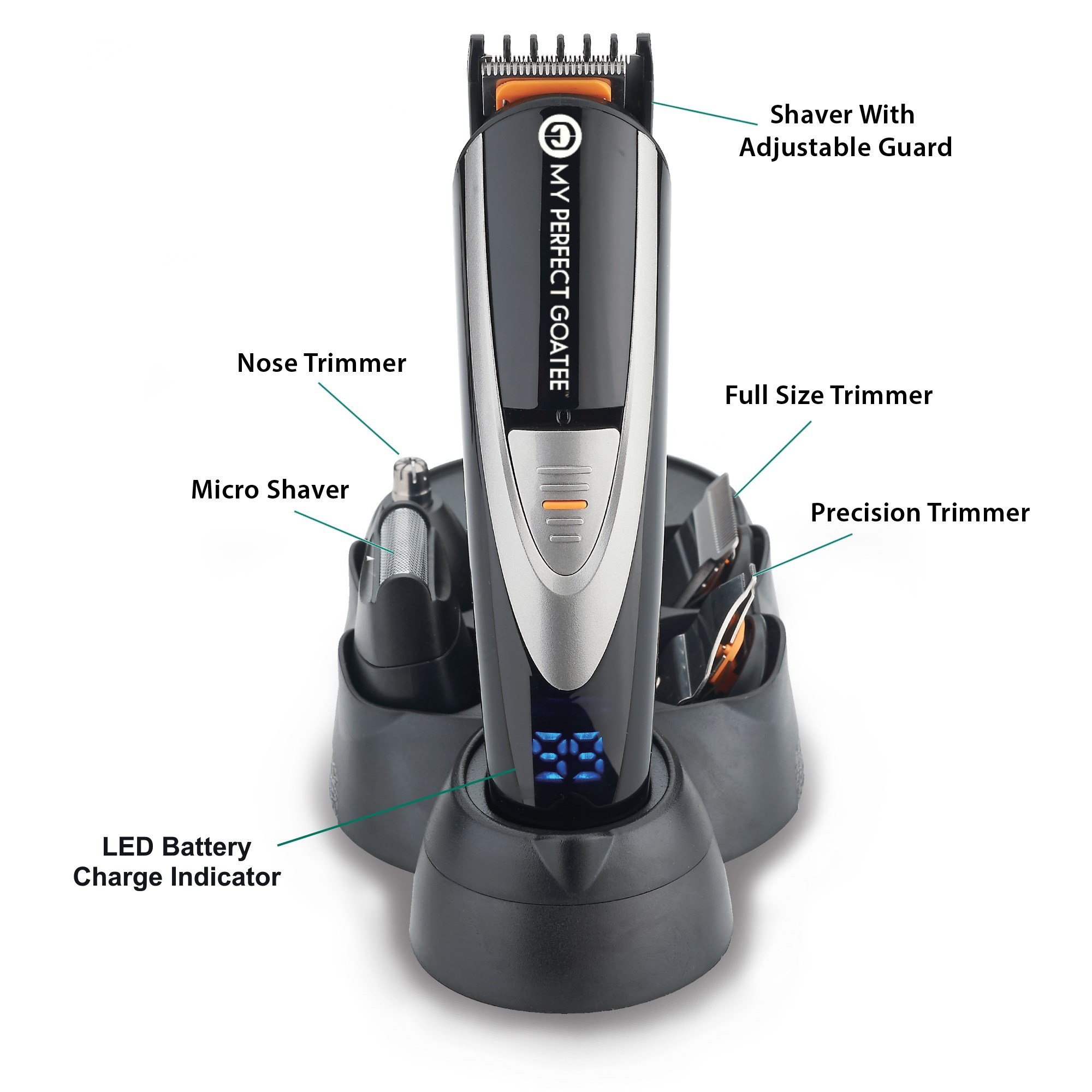 My Perfect Goatee Beard Trimmer, LED Battery Charge Indicator, 10 in 1 Men's Grooming Kit and Travel Bag, MPG 800W