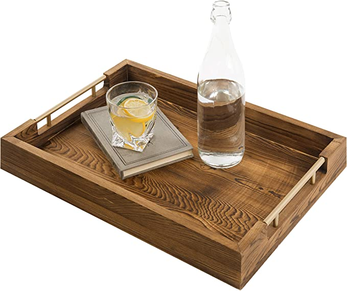 Rustic Torched Wood Serving Tray Rustic Wood with Modern Black Metal Handles
