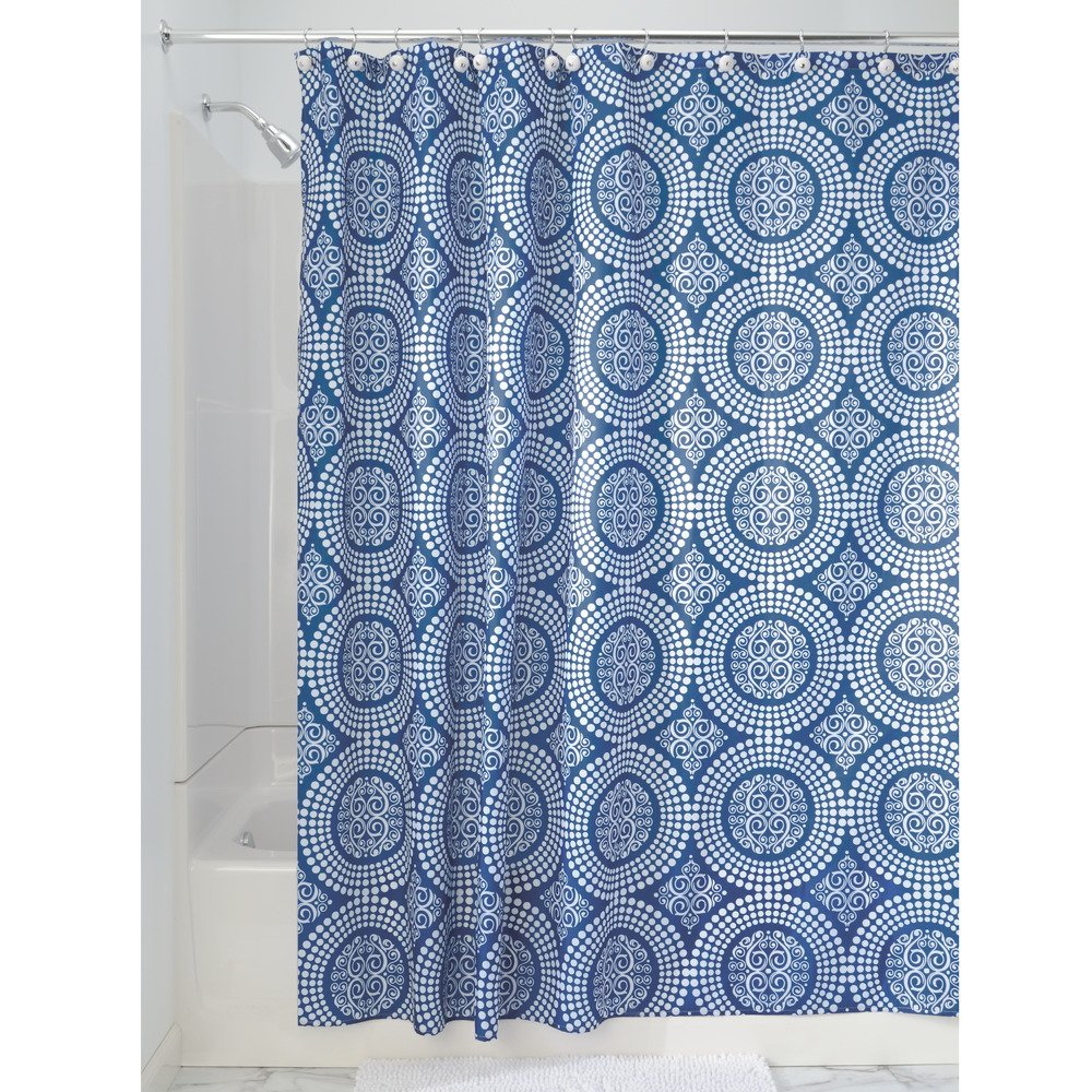 Amazon.com: InterDesign Medallion Fabric Shower Curtain, 72 X 72, White/Ink  Blue: Home U0026 Kitchen