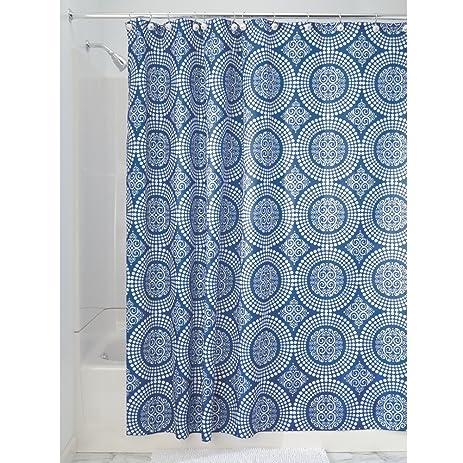 InterDesign Medallion Fabric Shower Curtain 72 X White Ink Blue